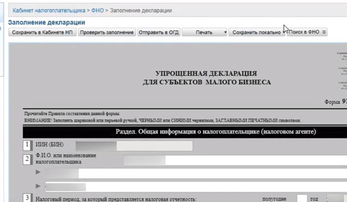 Бланк упрощённой декларации для субъектов малого бизнеса salyk