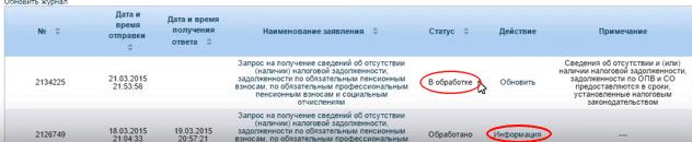 Статус заявки в личном кабинете Салык